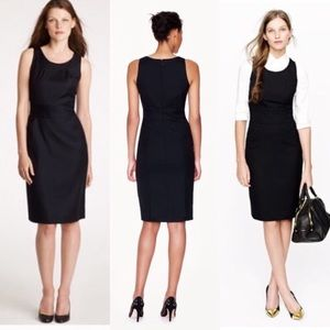 J.Crew Emmaleigh In Black Super 120's Sheath Dress